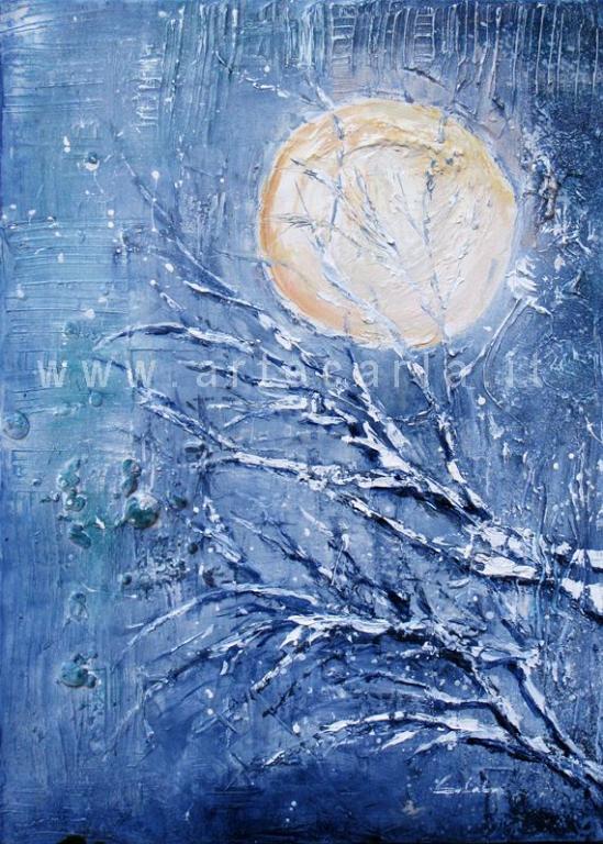Anche la luna attende. - Carla Colombo - olio + sabbia