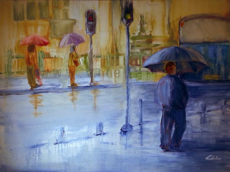 Non temere la pioggia che bagna, ma quella che porta la tristezza nel tuo cuore - Carla Colombo - Olio