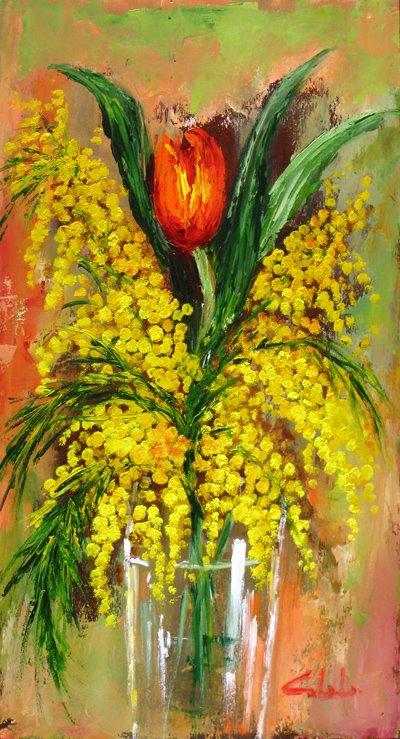 Insieme, mimosa e tulipano - Carla Colombo - Olio