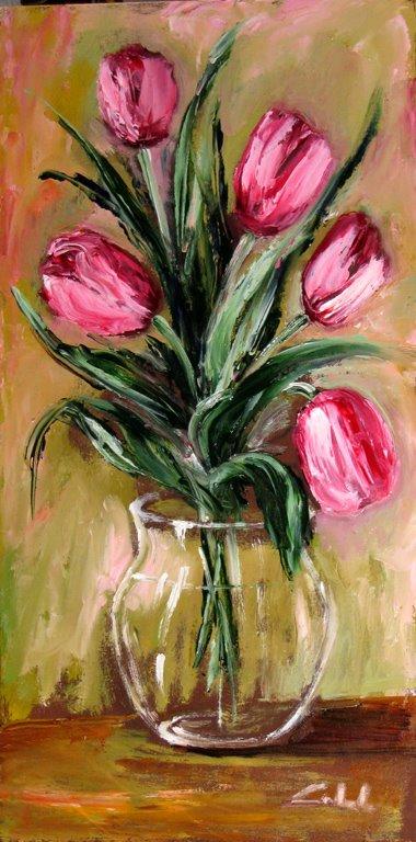 tulipani in primavera - Carla Colombo - Olio - 120 €