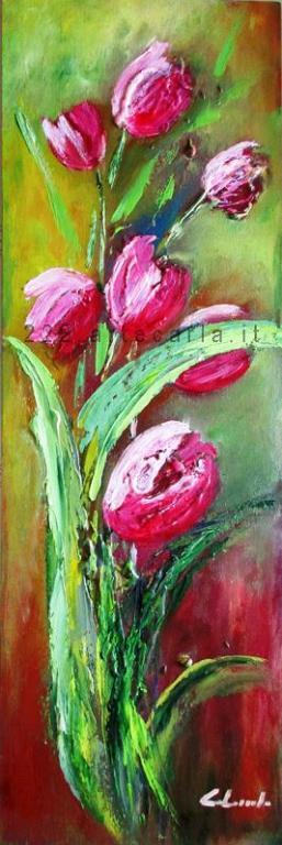 Il mio pensiero per te, tulipani - Carla Colombo - olio+sassi+gesso