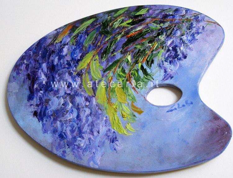 Di azzurro e violetto  - Carla Colombo - Olio - 65 €