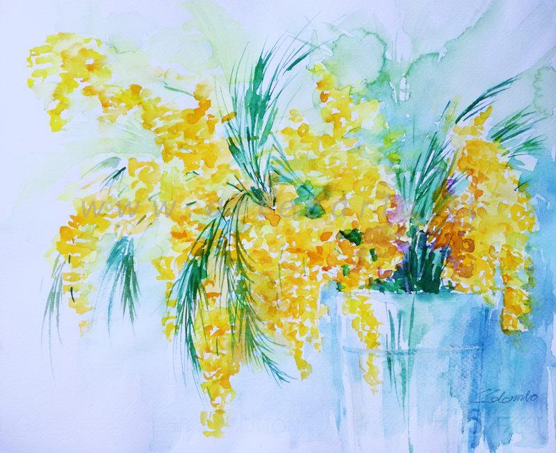 E' tempo di mimosa - Carla Colombo - Acquerello - 90 €