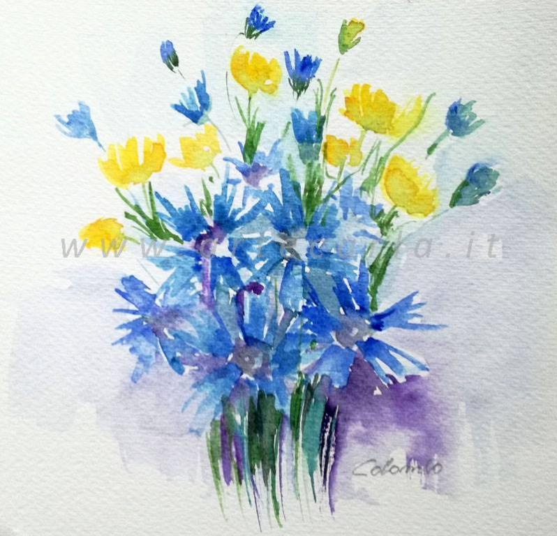 Azzurro carezza  - Carla Colombo - Acquerello - 33 €