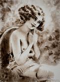 Signora. Stile vintage. - Eve Mazur - Acquerello - 85€