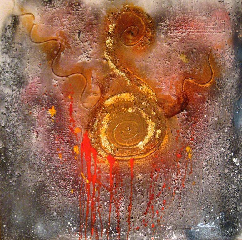 Ai margini la sofferenza  - Carla Colombo - olio + sabbia  - 620 €