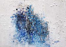 Continue presenze aleggiano nell'infinito cosmo dell'invisibile  - Carla Colombo - olio + sabbia