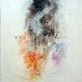 Costanti presenze aleggiano nel cosmo dell'invisibile  - Carla Colombo - olio + sabbia