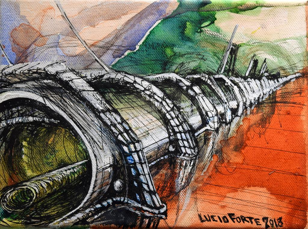 senza titolo 29 - Lucio Forte - Acrilico, acquerello e china su tela