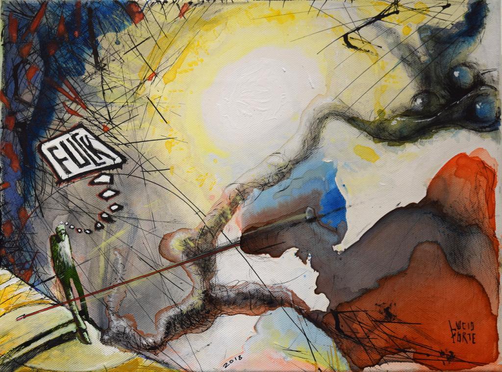 Fuck - Lucio Forte - Acrilico, acquerello e china su tela - 80 €