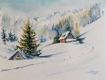 Paesaggio invernale - Eve Mazur - Acquerello - 55€