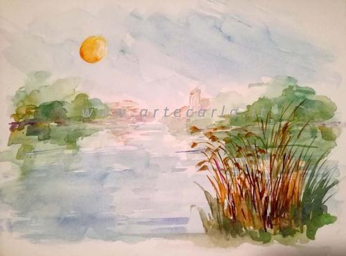 quiete sul fiume - Carla Colombo - Acquerello - 55 €
