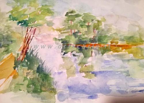 Sul fiume, il silenzio   Prezzo special - Carla Colombo - Acquerello -  €