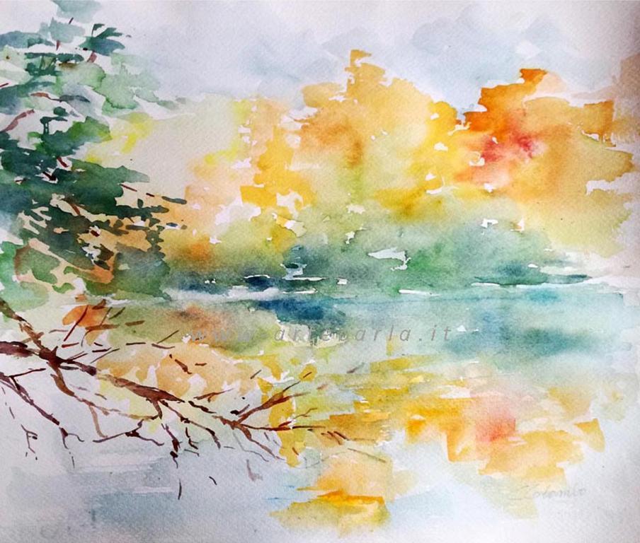 Oro autunno sul fiume  - Carla Colombo - Acquerello - 90 €