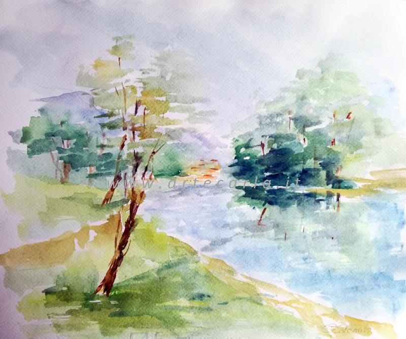Armonia sul fiume  - Carla Colombo - Acquerello - 78 €