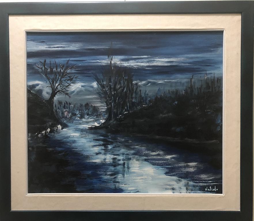 Chiaro di luna sul gelido fiume Treste - Dalido Gino Marini - Acrilico - 500 €