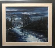 Chiaro di luna sul gelido fiume Treste - Dalido Gino Marini - Acrilico - 500€