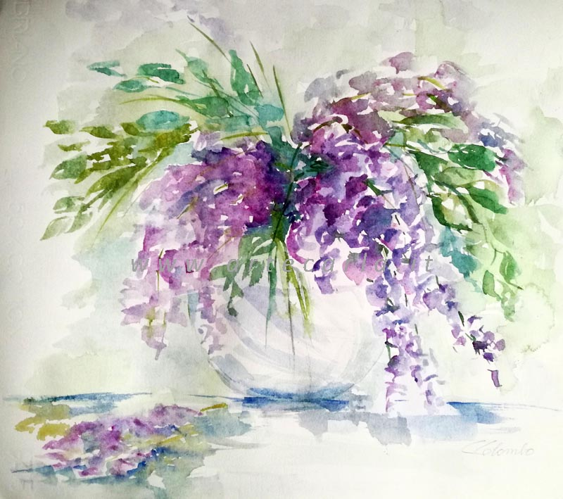 Il glicine in fiore, per me  - Carla Colombo - Acquerello - 78 €