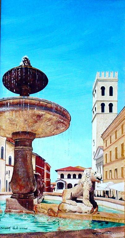 La fontana dei leoni - Paolo Benedetti - Acrilico - 400 €