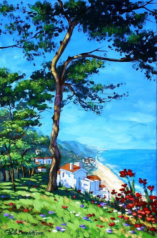 La spiaggia di S. Menaio, Puglia - Paolo Benedetti - Acrilico - 180 €