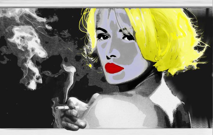 ritratto biondo- stampa su tela retouchè - EZIO  RANALDI - mix media art - 500 €