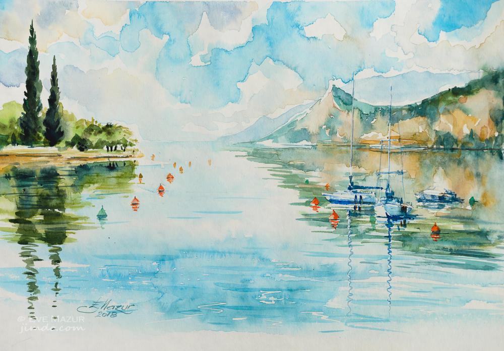 Lago di Garda, Italia - Eve Mazur - Acquerello - 42 €