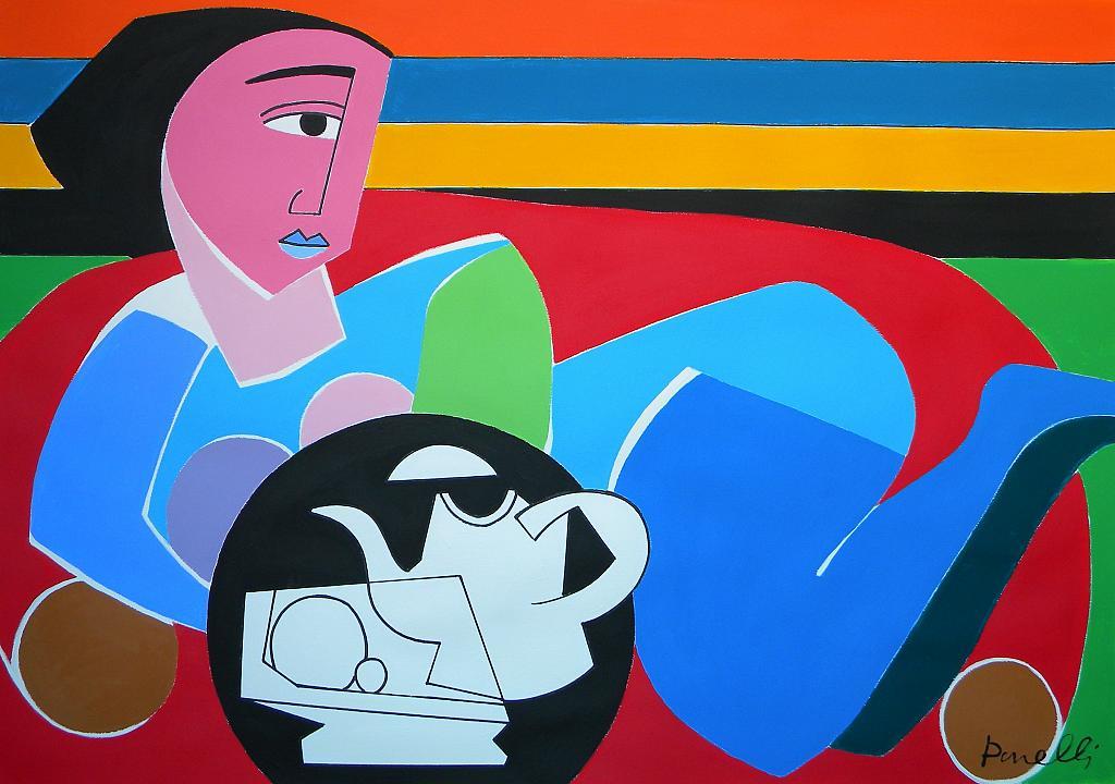 Natura morta con donna sdraiata - Gabriele Donelli - Acrilico - 400 €