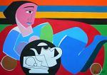 Natura morta con donna sdraiata - Gabriele Donelli - Acrilico - 400€
