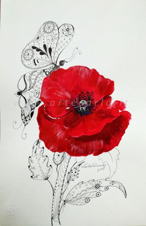 Mariposa ed il papavero rosso  litografia  - Carla Colombo - inchiostro e acrilico - 28 €