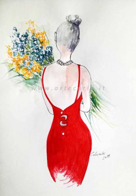 Portami tanti fiori -in rosso  litografia - Carla Colombo - inchiostro, acquerello, acrylico  - 28 €