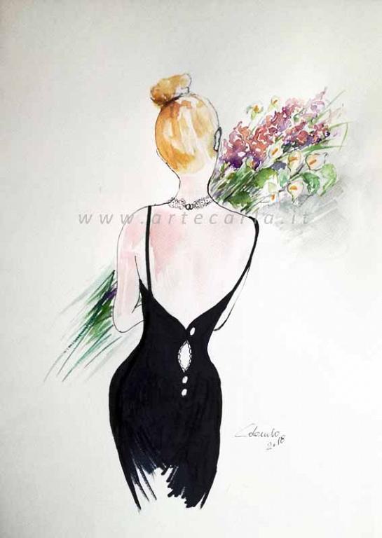 Portami tanti fiori -in nero litografia  - Carla Colombo - inchiostro+acquerello+acrilico  - 28 €