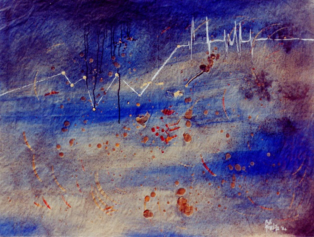 particelle sonore vaganti nell'universo - daniele Rallo  - mista su carta - 250 €