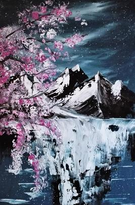 montagne innevate - Santina Mordà - Olio - 200,00 €