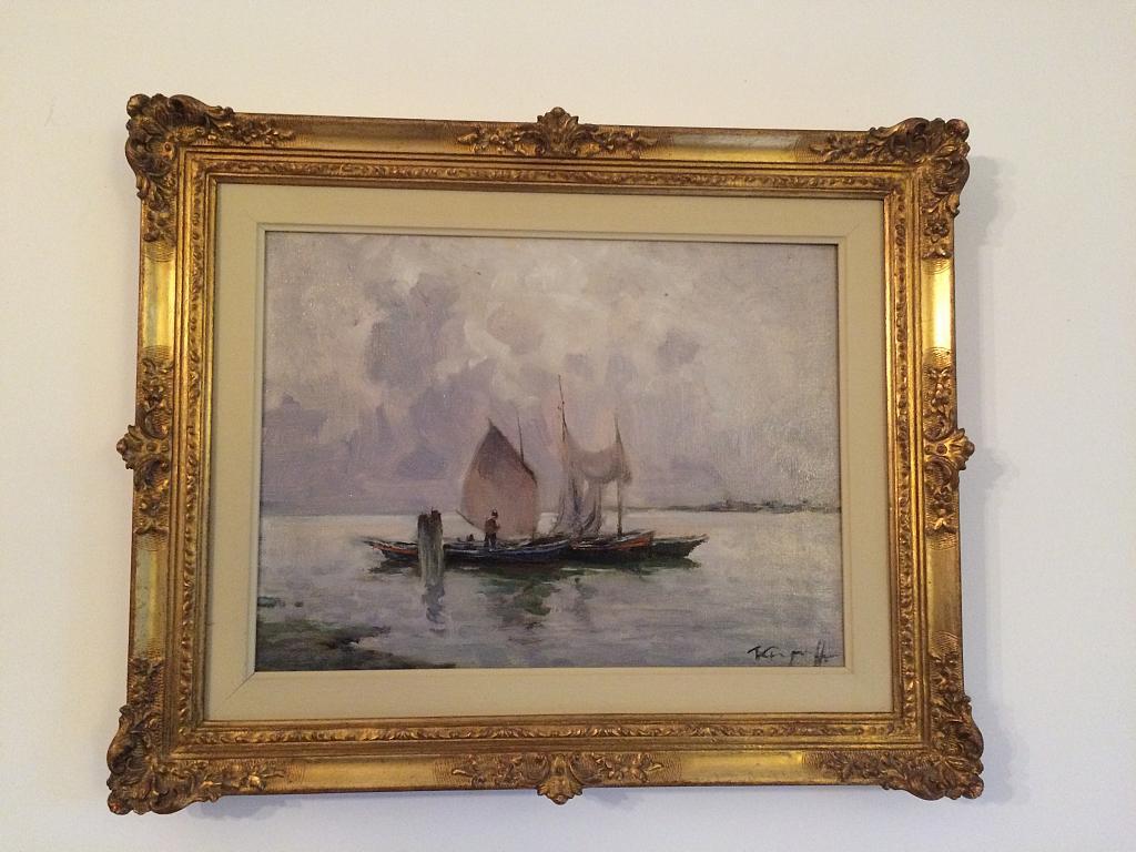Barche a vela su lago lombardo - rosario marra - Olio - 350 €