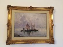 Barche a vela su lago lombardo - rosario marra - Olio - 350€