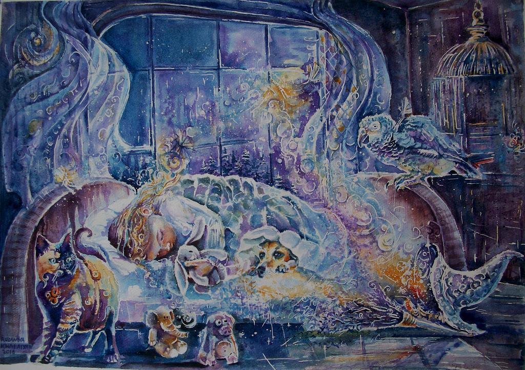La Notte delle Magie - Ruzanna Scaglione Khalatyan - Acquerello