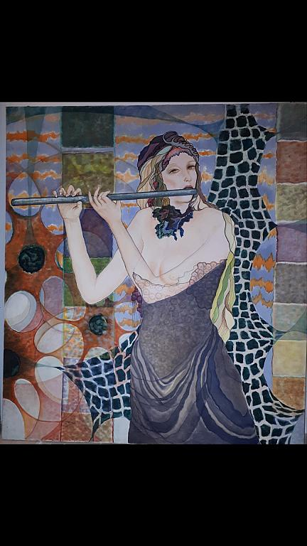 Flautista  - Safi Teleb - Olio