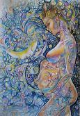 Dolce attesa - Ruzanna Scaglione Khalatyan - pastelli acquerellabili, penne, colori acrilici, pennarelli