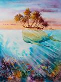 Isola paradisiaca - Eve Mazur - Acquerello - 55€