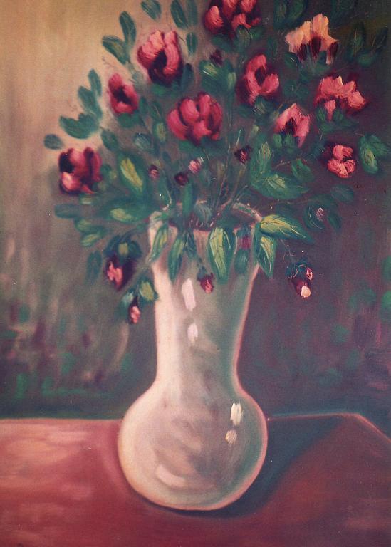 Vaso con fiori - Pietro Dell Aversana - Olio - 200 €