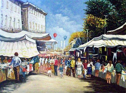 Pavia al mercato - Pietro Dell Aversana - Olio - 285 €