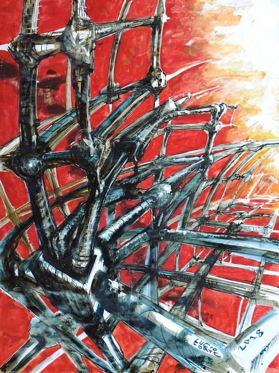 Reticulus 2 - Lucio Forte - Acrilico, acquerello e china su carta - 99 €