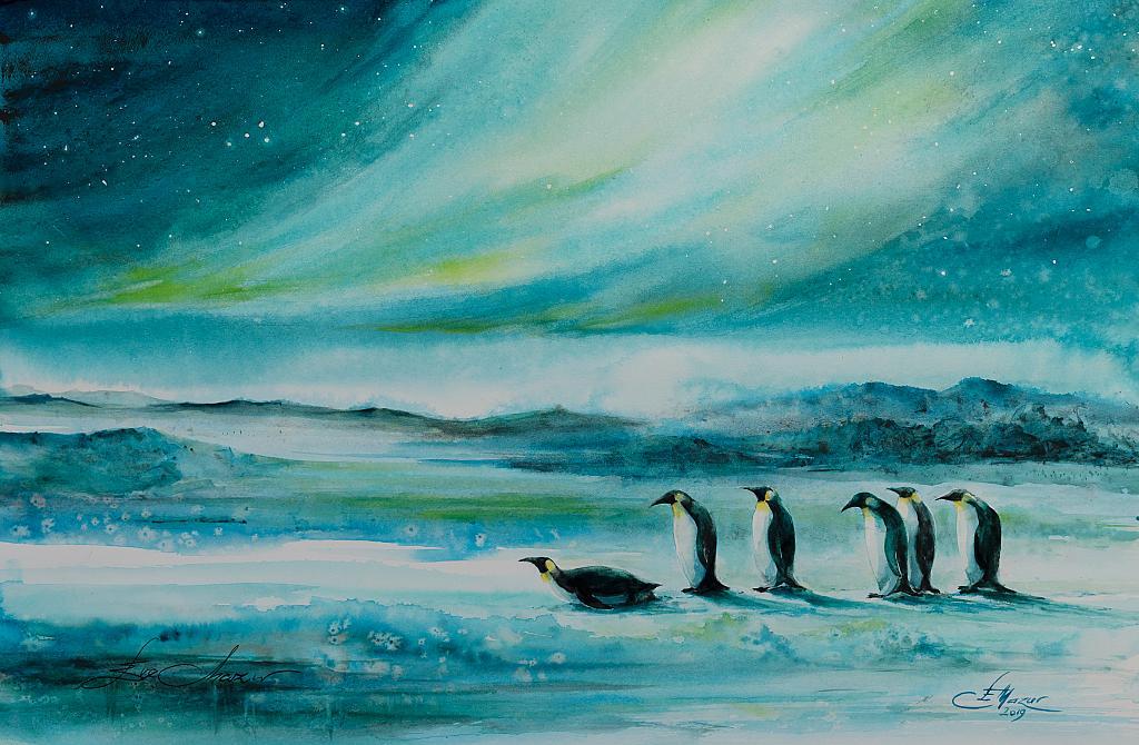 Aurora boreale - Eve Mazur - Acquerello - 70 €