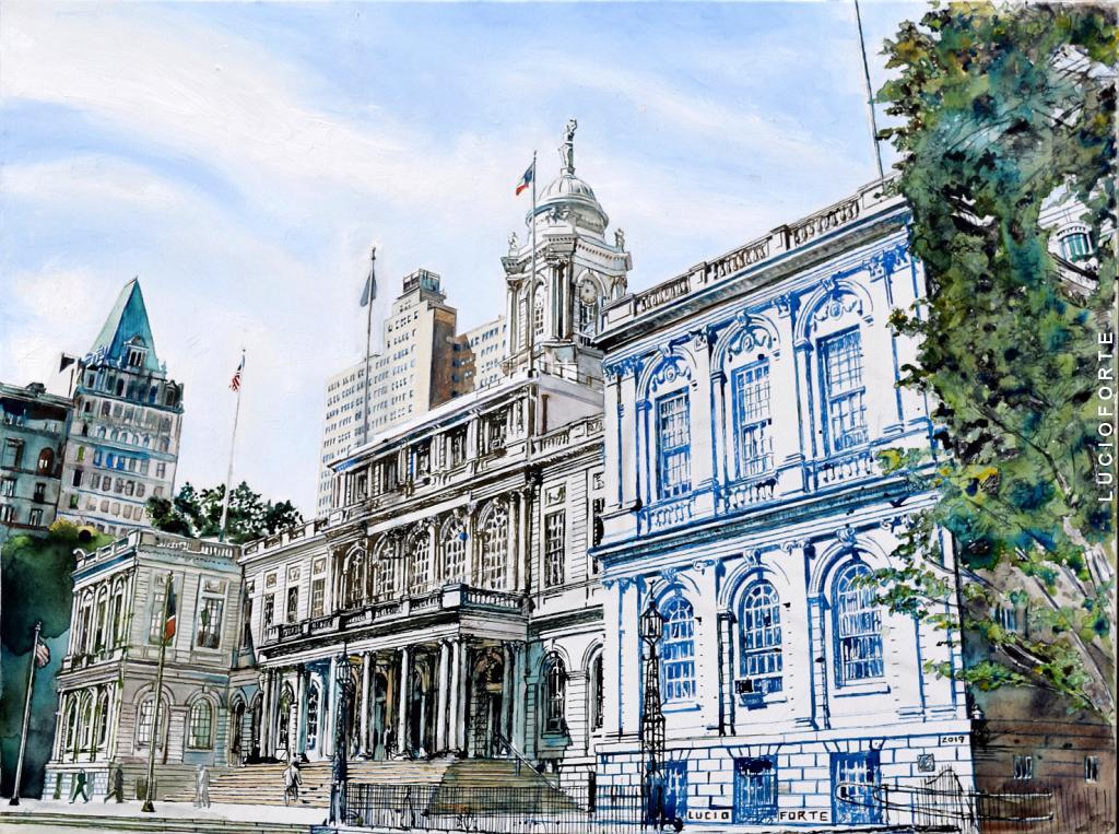 NY City Hall - Lucio Forte - Olio, acquerello e china su tela