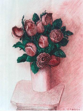 Rose su rosa - Gabriella Poggi - Olio