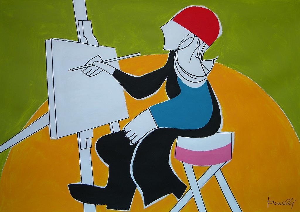 La pittrice - Gabriele Donelli - Acrilico - 400 €