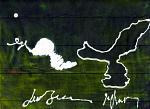 macchie e scrittura su uno spazio siderale - daniele rallo - mista - 150 €