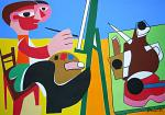 Il pittore e la natura morta - Gabriele Donelli - Acrilico - 1400€