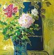 stupende rose riposte in un vaso - mario fanconi - Olio