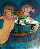 cavallo a dondolo - mario fanconi - Olio